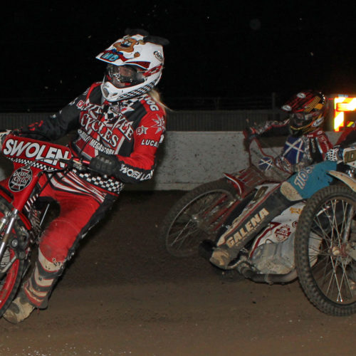 Speedway action, McConnell leads the pack in turn two