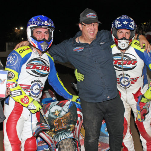 The 2016 Sidecar National Champions Dave German poses with NorCal Chuck and Joe Jones